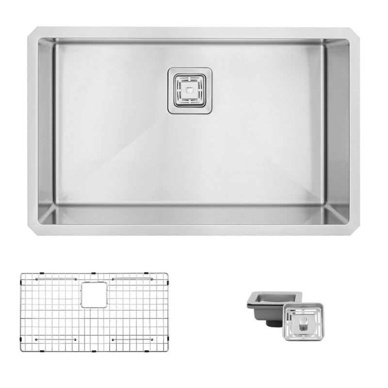 STYLISH S-511XG 30 L X 18 W INCH STAINLESS STEEL SINGLE BASIN UNDERMOUNT KITCHEN SINK WITH GRID AND SQUARE STRAINER