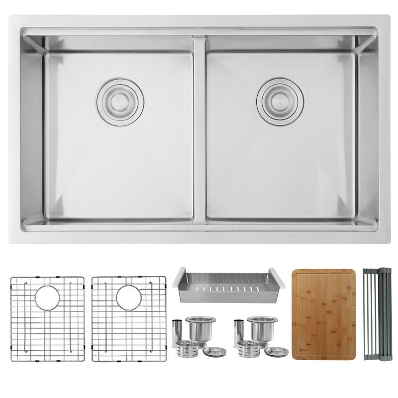 STYLISH S-601XGBC 32 L X 19 W INCH STAINLESS STEEL DOUBLE BASIN UNDERMOUNT KITCHEN SINK WITH GRIDS, STRAINERS, CUTTING BOARD AND COLANDER