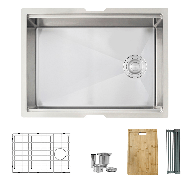 STYLISH S-612W 25 L X 19 W INCH STAINLESS STEEL SINGLE BASIN UNDERMOUNT WORKSTATION KITCHEN SINK WITH GRID, STRAINER, CUTTING BOARD AND DRYING RACK