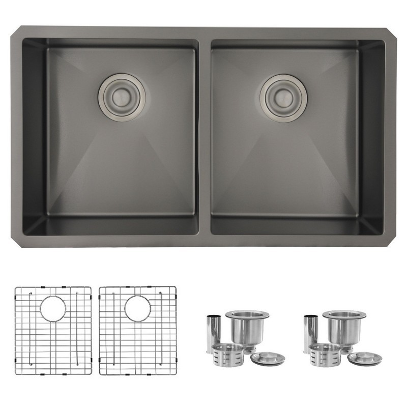 STYLISH S-701X 32 L X 18 W INCH STAINLESS STEEL DOUBLE BASIN UNDERMOUNT KITCHEN SINK WITH STRAINERS
