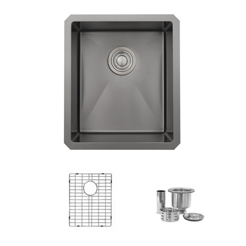 STYLISH S-709XN 16 L X 18 W INCH STAINLESS STEEL SINGLE BASIN UNDERMOUNT KITCHEN SINK WITH STRAINERS IN PEARL BLACK