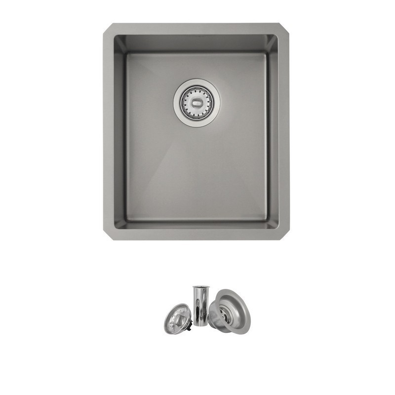 STYLISH S-709XS 16 L X 18 W INCH STAINLESS STEEL SINGLE BASIN UNDERMOUNT KITCHEN SINK WITH STRAINERS IN PEARL SILVER