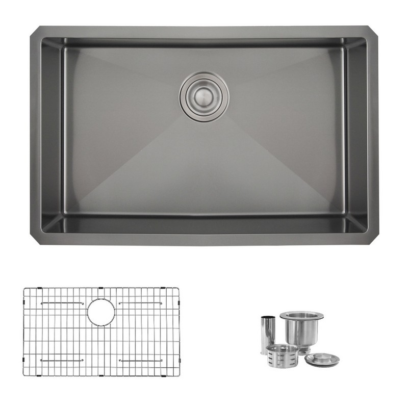 STYLISH S-711X 30 L X 18 W INCH STAINLESS STEEL SINGLE BASIN UNDERMOUNT KITCHEN SINK WITH STRAINERS