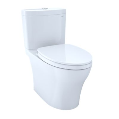 TOTO CST446CEMG#01 AQUIA IV TWO-PIECE ELONGATED 1.28/0.8 DUAL FLUSH SKIRTED TOILET WITH CEFIONTECT, COTTON WHITE