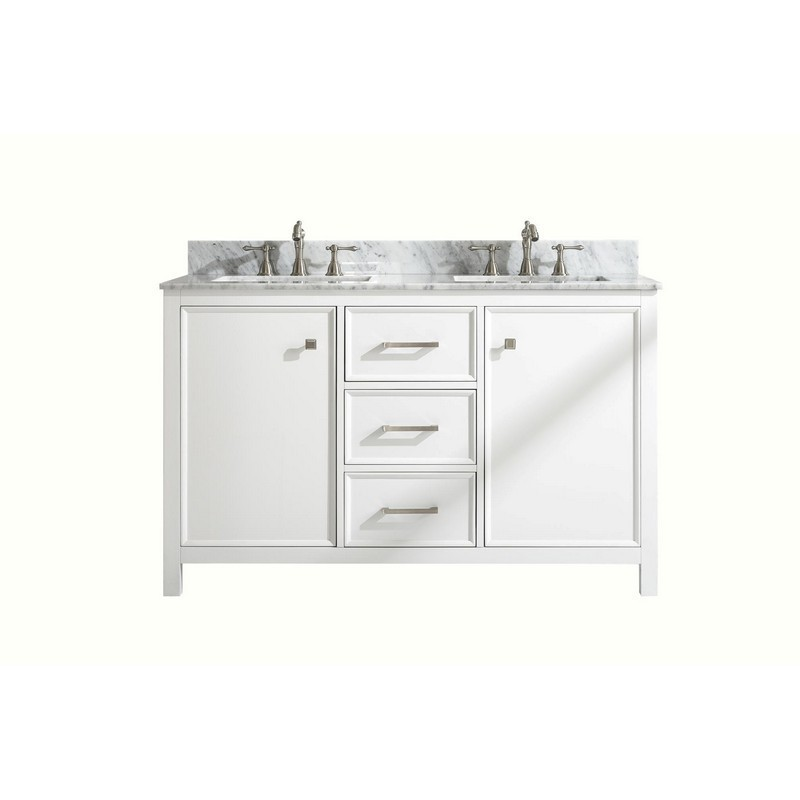 LEGION FURNITURE WLF2154-W 54 INCH WHITE FINISH DOUBLE SINK VANITY CABINET WITH CARRARA WHITE TOP