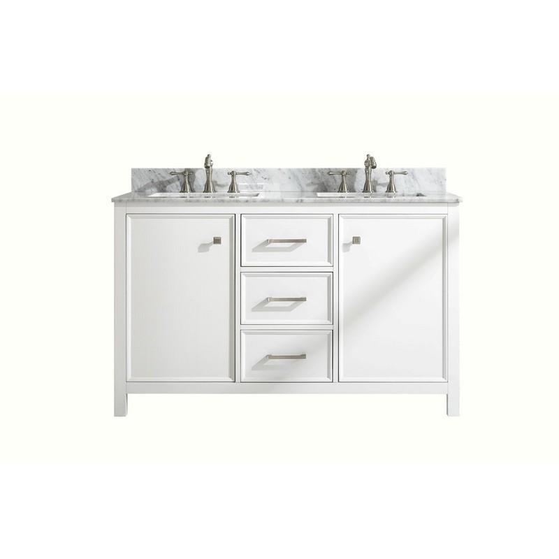 Legion Furniture Wlf2154 W 54 Inch White Finish Double Sink Vanity Cabinet With Carrara White Top Wlf2154 W Wlf2154w