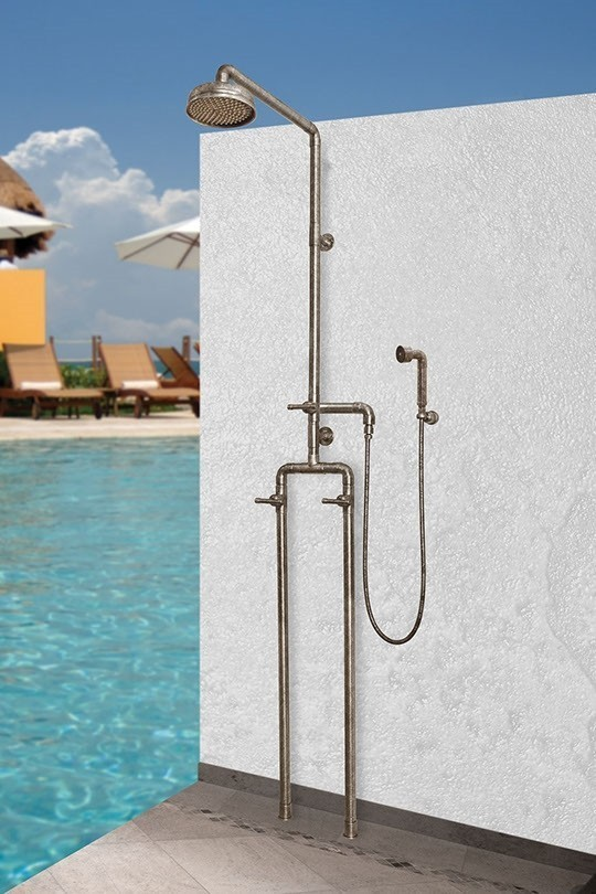 SONOMA FORGE WB-SHW-1050 WATERBRIDGE 91 3/4 INCH FLOOR MOUNT EXPOSED SHOWER SYSTEM WITH HAND SHOWER