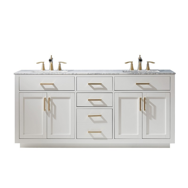 ALTAIR 531072-CA-NM IVY 72 INCH DOUBLE BATHROOM VANITY WITH CARRARA WHITE MARBLE COUNTERTOP