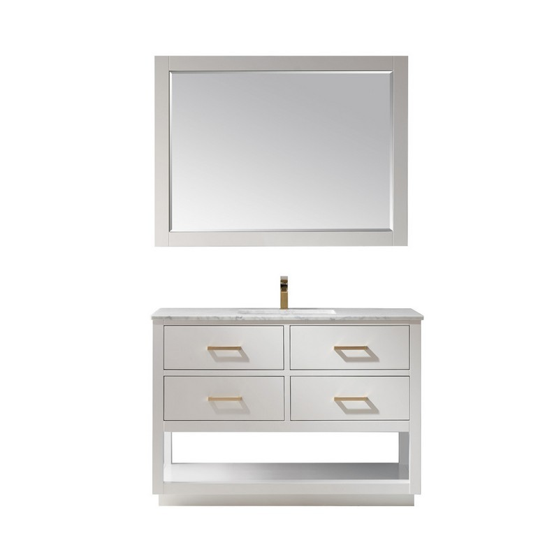 ALTAIR 532048-CA REMI 48 INCH SINGLE BATHROOM VANITY SET WITH CARRARA WHITE MARBLE COUNTERTOP AND MIRROR