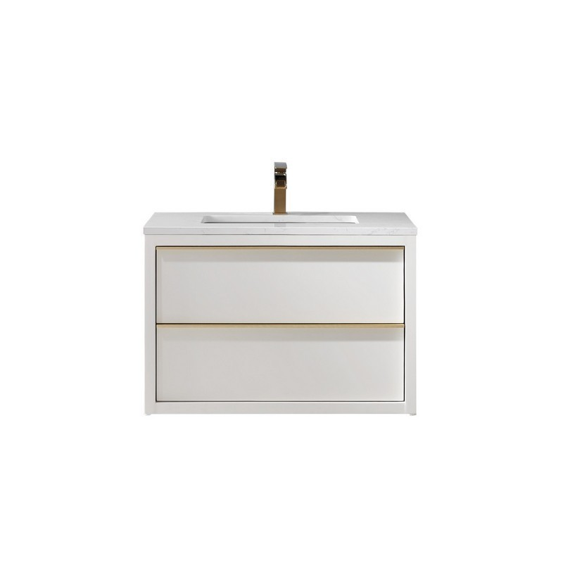 ALTAIR 534030-WH-AW-NM MORGAN 30 INCH SINGLE BATHROOM VANITY WITH COMPOSITE CARRARA WHITE STONE COUNTERTOP