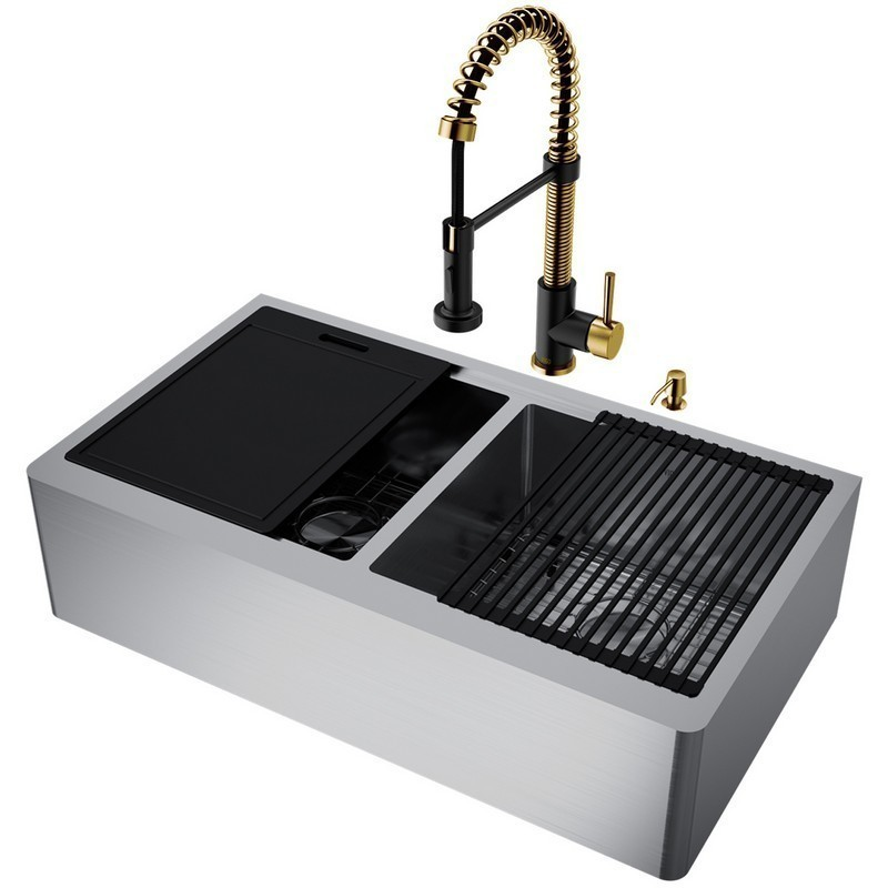 Vigo Vg15993 36 Inch Double Bowl Oxford Apron Front Stainless Steel Farmhouse Sink With Edison Faucet In Matte