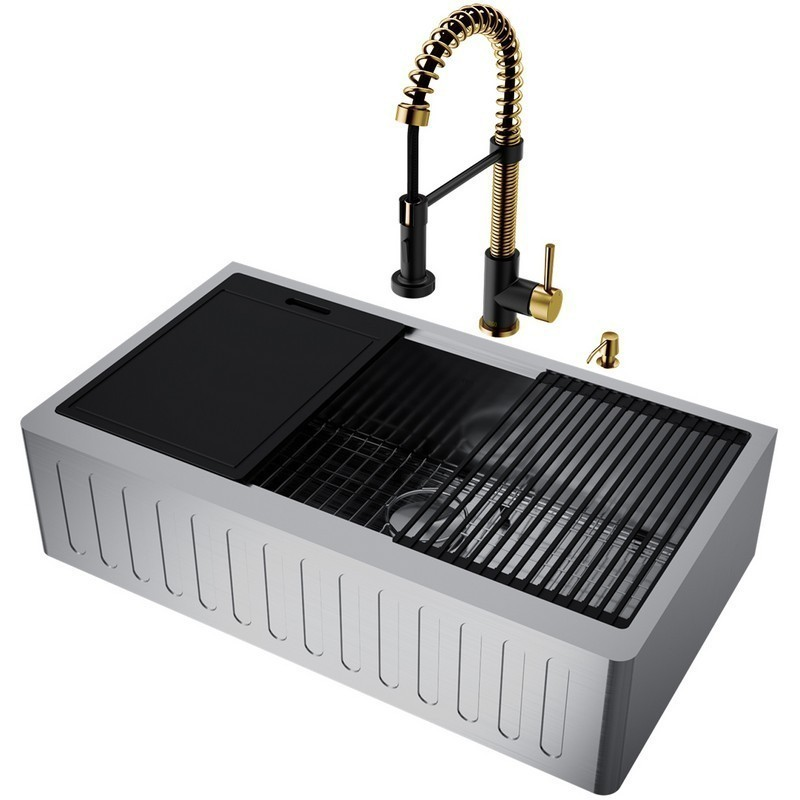VIGO VG15995 36 INCH OXFORD STAINLESS STEEL SLOTTED FRONT FARMHOUSE KITCHEN SINK SET WITH EDISON FAUCET IN MATTE BRUSHED GOLD AND MATTE BLACK