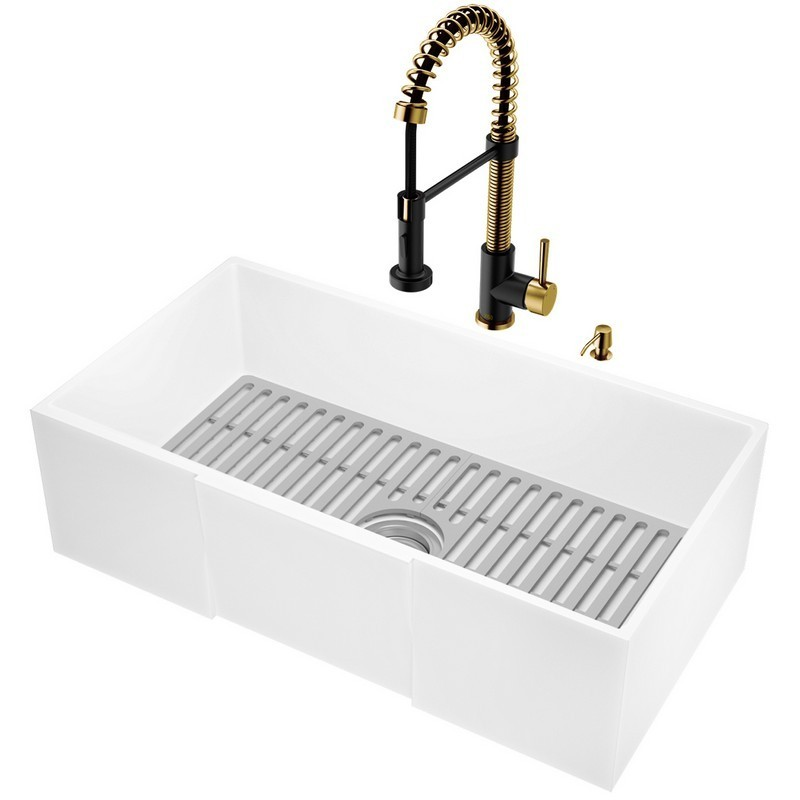 Vigo Vg151002 30 Inch Matte Stone Farmhouse Square Apron Front Kitchen Sink With Edison Faucet In Matte Brushed Gold