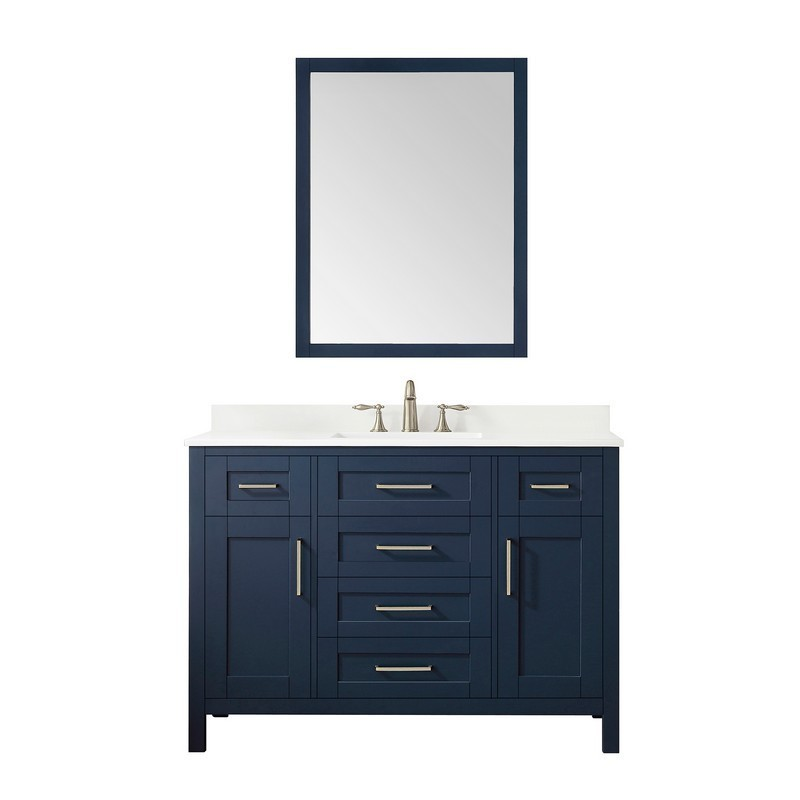 OVE DECORS 15VKC-TAHO48-045EI TAHOE 48 INCH MIDNIGHT BLUE SINGLE SINK VANITY WITH WHITE CULTURED MARBLE TOP AND MIRROR