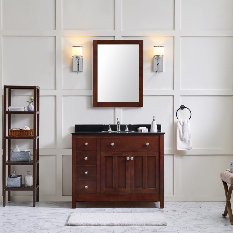 Ove Decors 15vva Adam42 622ei Adam 42 Inch Dark Cherry Single Sink Bathroom Vanity With Black Granite Top