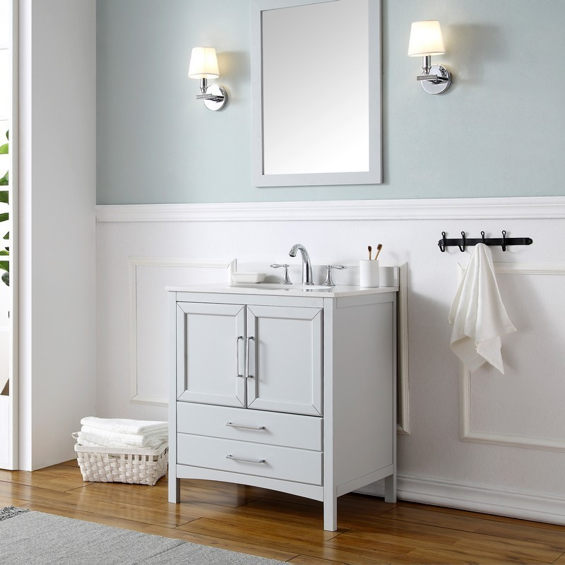 Ove Decors 15vva Joyc30 039oj Joyce 30 Inch Dove Gray Single Sink Bathroom Vanity With Bombay White Cultured Marble