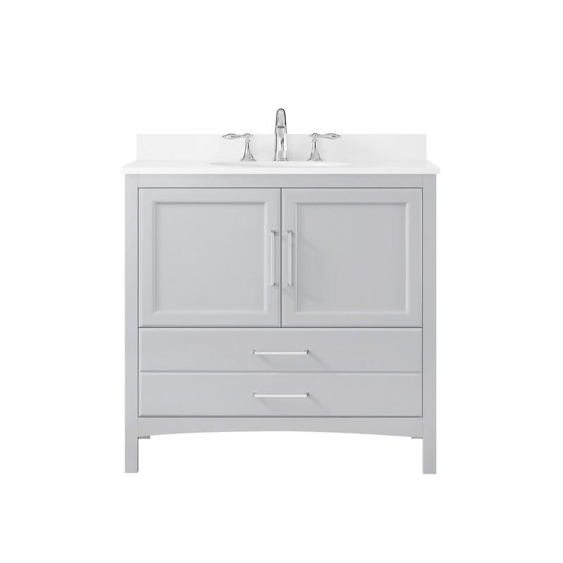 Ove Decors 15vva Joyc36 039oj Joyce 36 Inch Dove Gray Single Sink Bathroom Vanity With Bombay White Cultured Marble