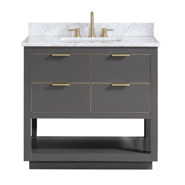 AVANITY ALLIE-VS37-TGG-C ALLIE 37 INCH VANITY COMBO IN TWILIGHT GRAY WITH GOLD TRIM AND CARRARA WHITE MARBLE TOP