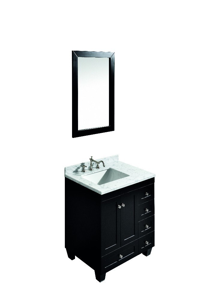 Eviva EVVN69-30ES Acclaim C. 30 Inch Transitional Espresso Bathroom Vanity with white carrera marble counter-top