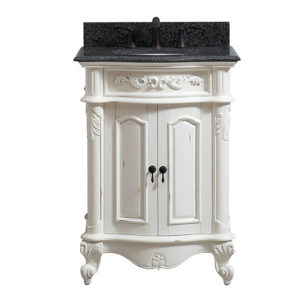 AVANITY PROVENCE-VS25-AW PROVENCE 25 INCH VANITY IN ANTIQUE WHITE FINISH WITH IMPALA BLACK GRANITE TOP