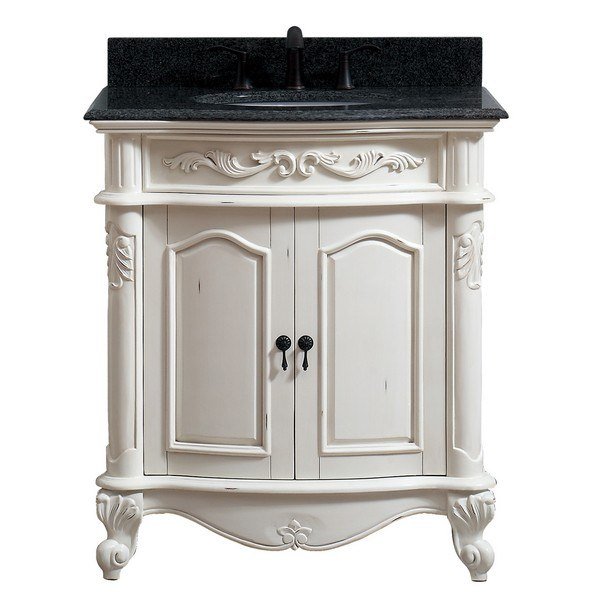 AVANITY PROVENCE-VS31-AW PROVENCE 31 INCH VANITY IN ANTIQUE WHITE FINISH WITH IMPALA BLACK GRANITE TOP