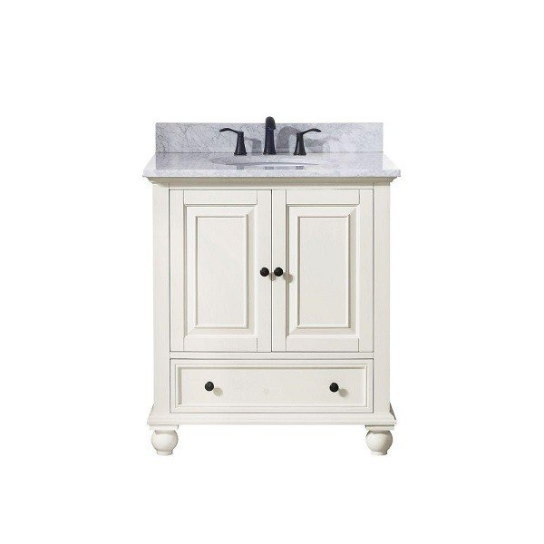 AVANITY THOMPSON-VS30-FW-C THOMPSON 31 INCH VANITY IN FRENCH WHITE WITH CARRERA WHITE MARBLE TOP