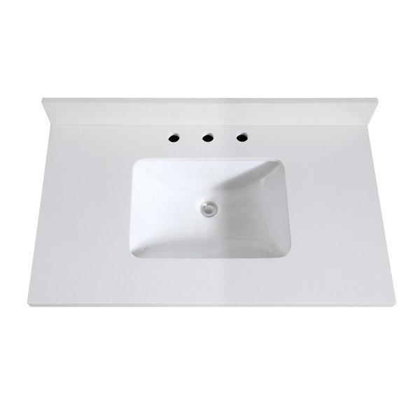 Avanity Vut37wq R 37 Inch White Quartz Vanity Top With Rectangular Undermount Sink