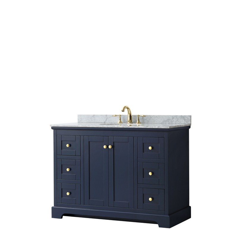 WYNDHAM COLLECTION WCV232348SBLCMUNOMXX AVERY 48 INCH SINGLE BATHROOM VANITY IN DARK BLUE WITH WHITE CARRARA MARBLE COUNTERTOP AND UNDERMOUNT OVAL SINK