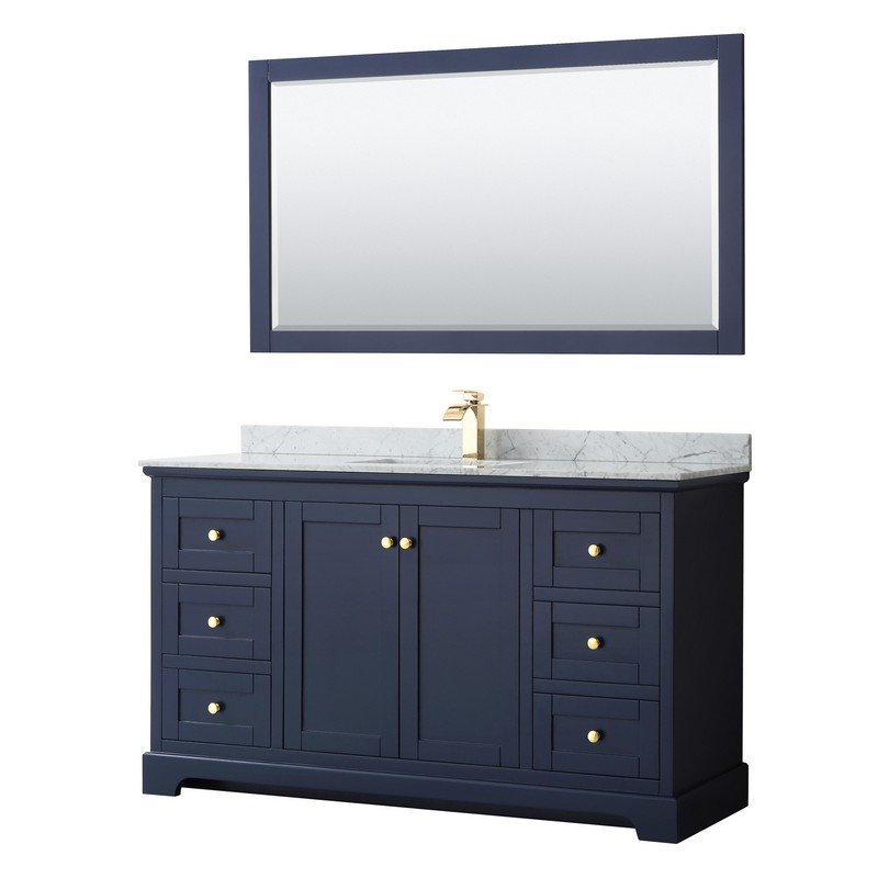 Wyndham Collection Wcv232360sblcmunsm58 Avery 60 Inch Single Bathroom Vanity In Dark Blue With White Carrara Marble