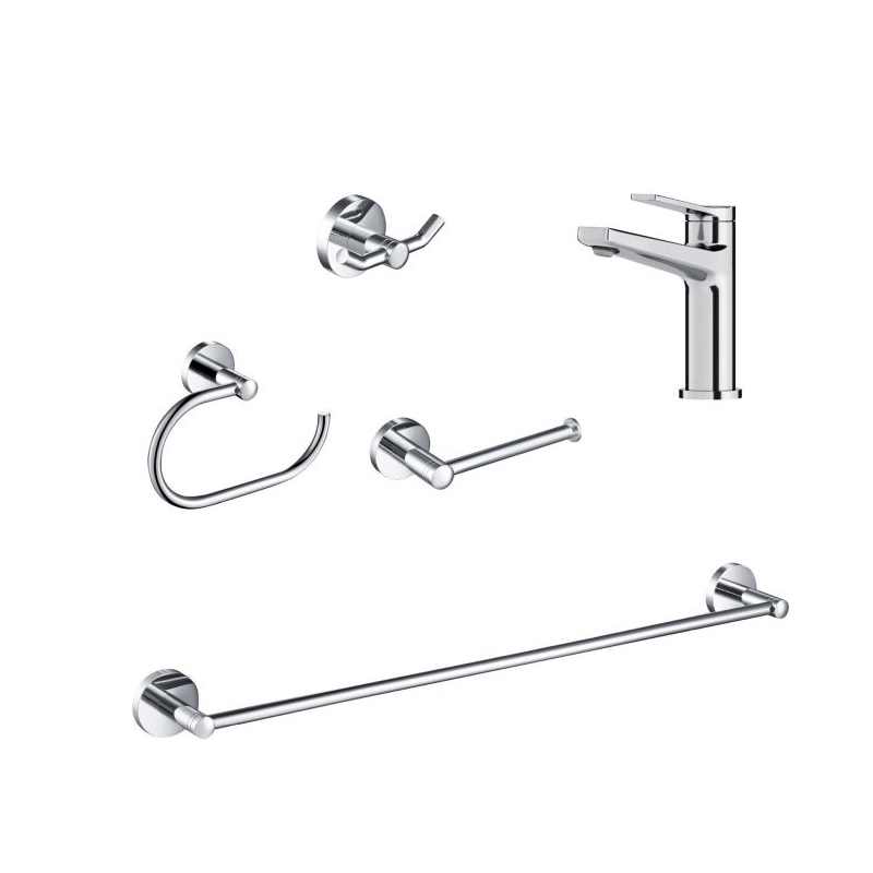 KRAUS C-KBF-1401-KEA-188 INDY SINGLE HANDLE BATHROOM FAUCET SET WITH TOWEL BAR, PAPER HOLDER, TOWEL RING AND ROBE HOOK
