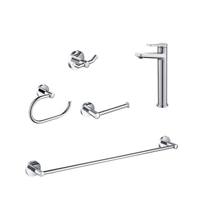 KRAUS C-KVF-1400-KEA-188 INDY SINGLE HANDLE VESSEL BATHROOM FAUCET WITH TOWEL BAR, PAPER HOLDER, TOWEL RING AND ROBE HOOK