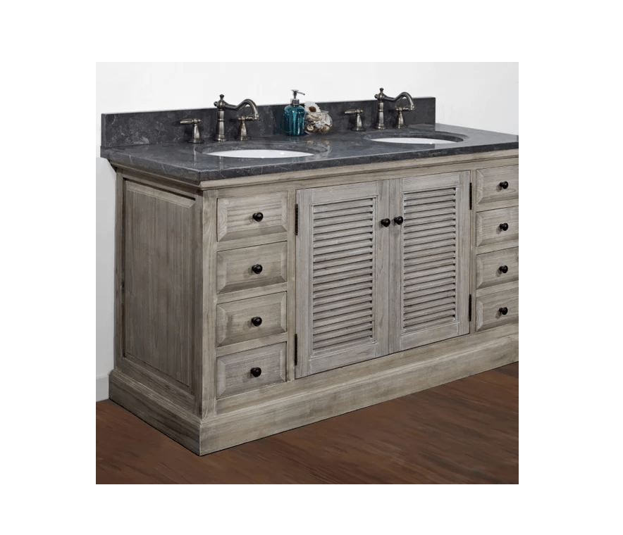 Infurniture Wk1960 Wk Top 60 Inch Solid Recycled Fir Double Sink Vanity With Limestone Top