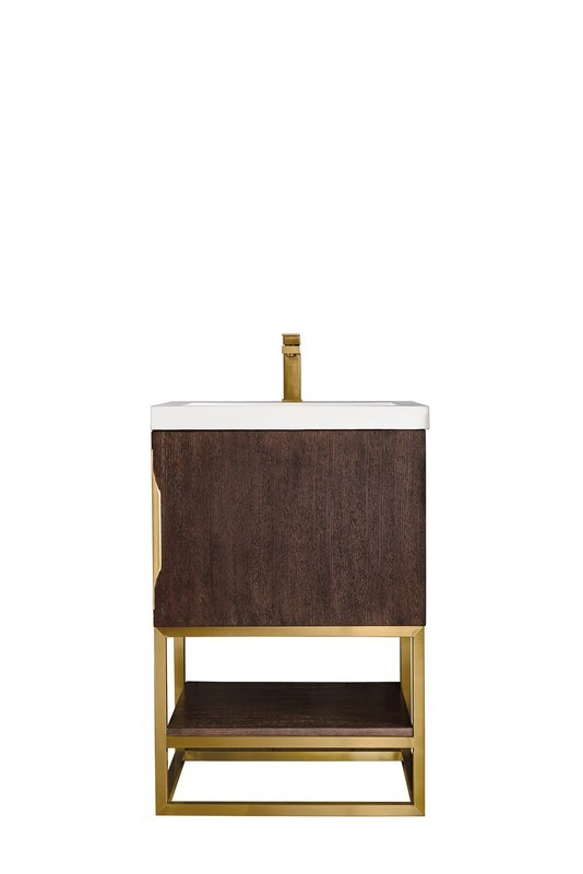 JAMES MARTIN 388-V24-CFO-RGD-WG COLUMBIA 24 INCH SINGLE VANITY CABINET IN COFFEE OAK IN RADIANT GOLD WITH WHITE GLOSSY RESIN COUNTERTOP