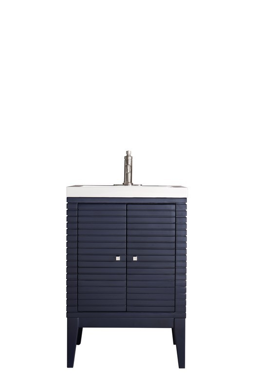 JAMES MARTIN E213-V24-NVB-WG LINDEN 24 INCH SINGLE VANITY CABINET IN NAVY BLUE WITH WHITE GLOSSY RESIN COUNTERTOP