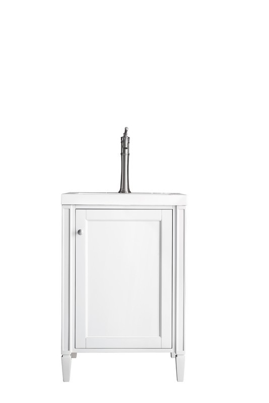 JAMES MARTIN E652-V24-GW-WG BRITTANIA 24 INCH SINGLE VANITY CABINET IN GLOSSY WHITE WITH WHITE GLOSSY RESIN COUNTERTOP