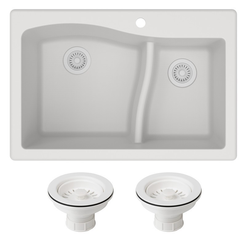 KRAUS KGD-442-PST1 QUARZA 33 INCH DUAL MOUNT 60/40 DOUBLE BOWL GRANITE KITCHEN SINK AND STRAINERS
