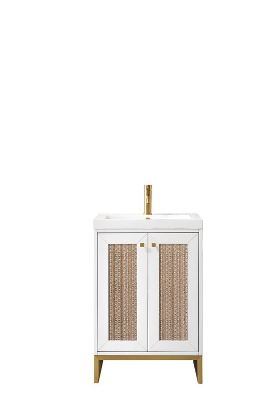 JAMES MARTIN E303-V24-GW-RGD-WG CHIANTI 24 INCH SINGLE VANITY CABINET IN GLOSSY WHITE AND RADIANT GOLD WITH WHITE GLOSSY RESIN COUNTERTOP