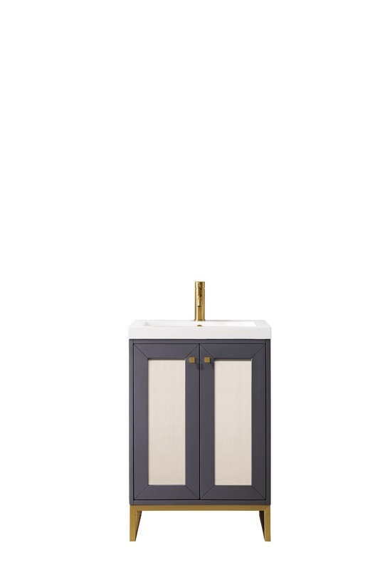 JAMES MARTIN E303-V24-MG-RGD-WG CHIANTI 24 INCH SINGLE VANITY CABINET IN MINERAL GREY AND RADIANT GOLD WITH WHITE GLOSSY RESIN COUNTERTOP