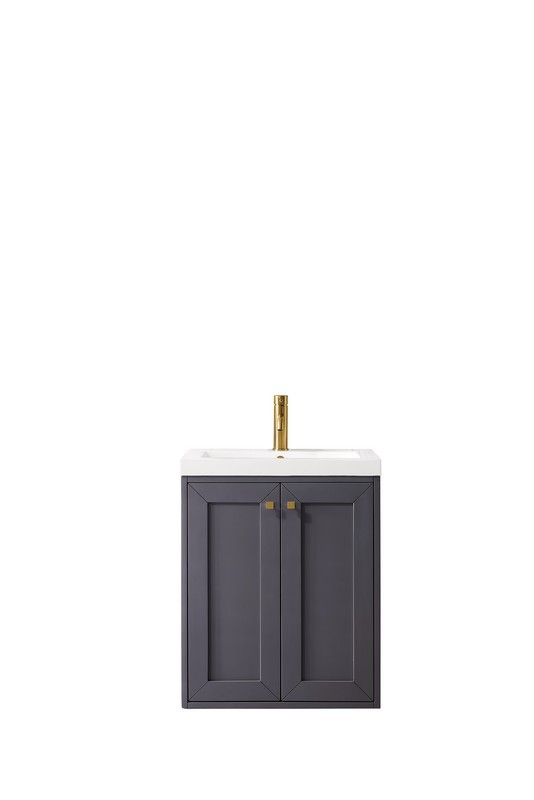 JAMES MARTIN E303-V24-MG-WG CHIANTI 24 INCH SINGLE VANITY CABINET IN MINERAL GREY WITH WHITE GLOSSY RESIN COUNTERTOP