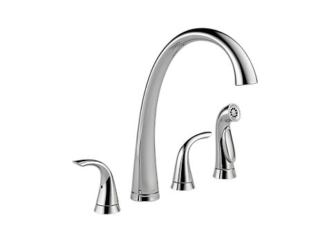 Delta 2480-DST Pilar Two Handle Widespread Kitchen Faucet with Spray