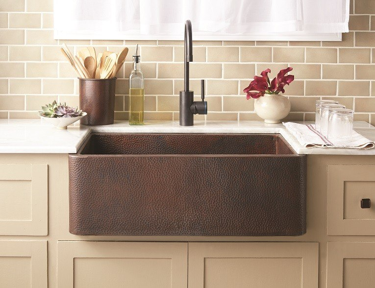 Native Trails CPK73 Farmhouse 33 Inch Apron Front Hand Hammered Copper  Undermount Kitchen Sink
