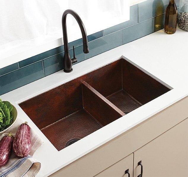 Native Trails CPK75 Cocina 33 Inch Double-Bowl Hand Hammered Copper Undermount Kitchen Sink