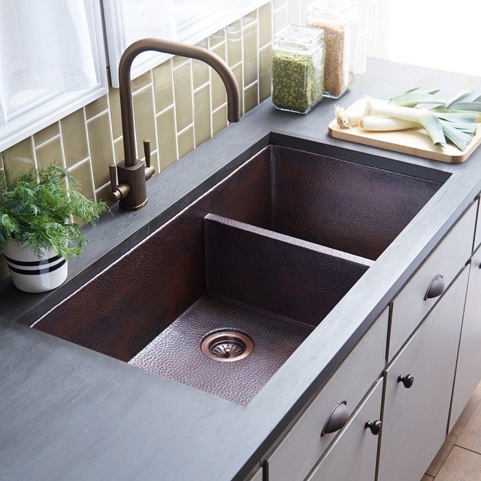 Native Trails CPK77 Cocina Duet Pro 40 Inch Double-Bowl Hand Hammered Copper Undermount Kitchen Sink