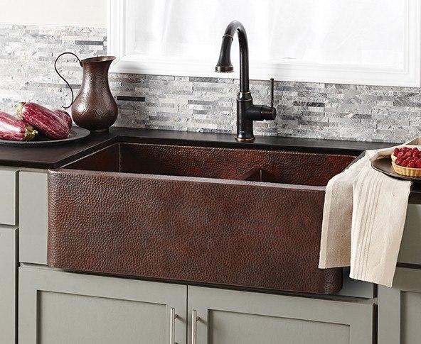 Native Trails CPK76 Farmhouse 33 Inch Duet Pro Double-Bowl Apron Front Copper Undermount Kitchen Sink