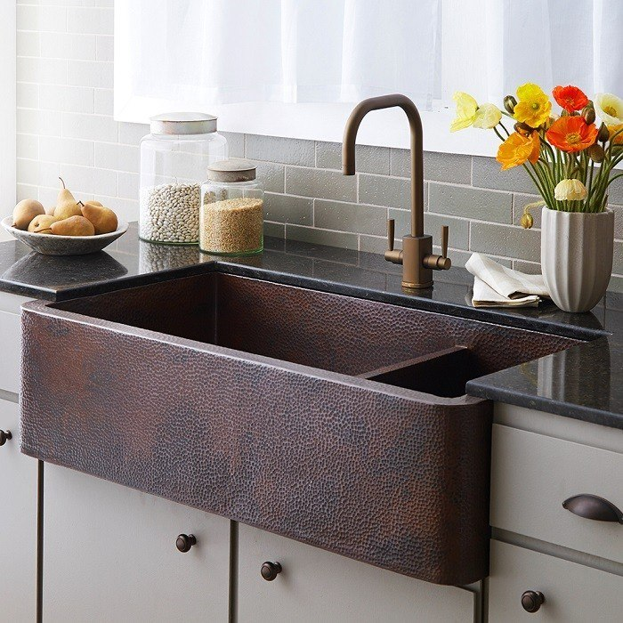 NATIVE TRAILS CPK74 FARMHOUSE 40 INCH DUET PRO DOUBLE-BOWL APRON FRONT COPPER UNDERMOUNT KITCHEN SINK