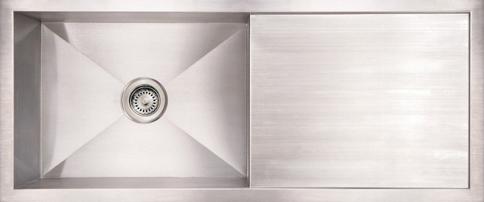 WhiteHaus WHNCM4019 Noah's 40 Inch Commercial Single Bowl Reversible Under Mount Sink with Integral Drain Board