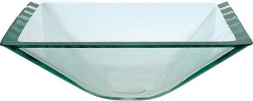 Kraus GVS-901-19mm Aquamarine 16.5 Inch Square Clear Glass Vessel Sink