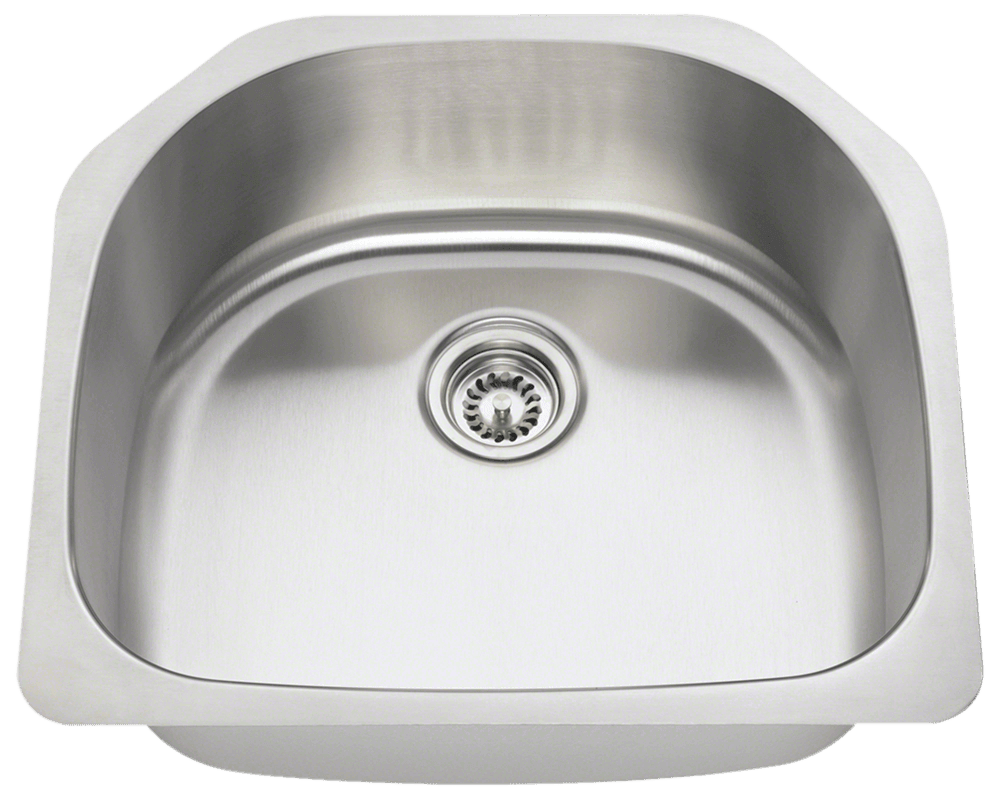 Polaris P1242 D Bowl Stainless Steel Kitchen Sink 23 1/2 Inch Brushed