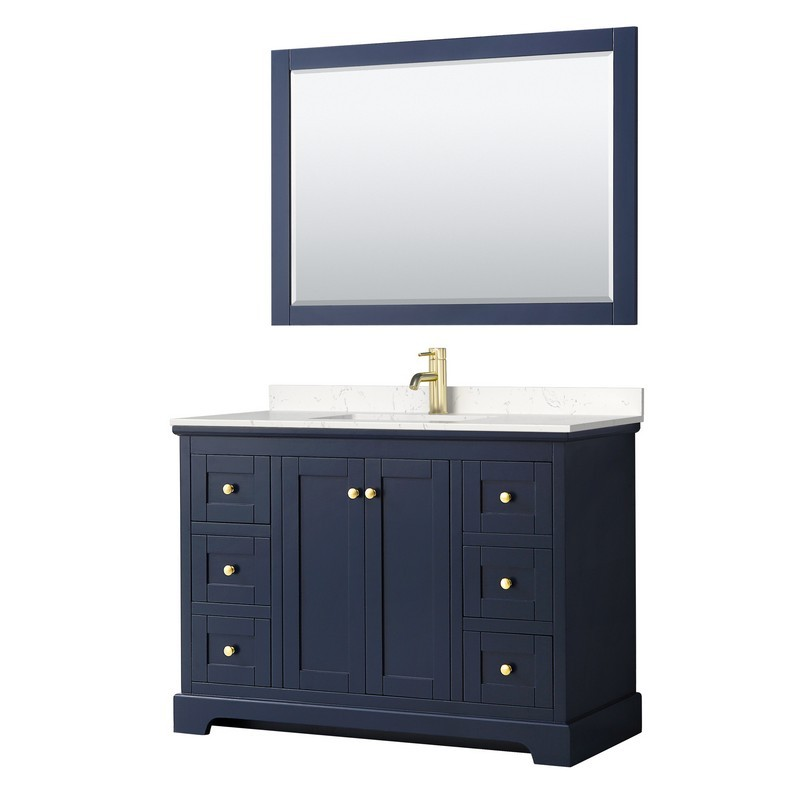 WYNDHAM COLLECTION WCV232348SBLC2UNSM46 AVERY 48 INCH SINGLE BATHROOM VANITY IN DARK BLUE WITH LIGHT-VEIN CARRARA CULTURED MARBLE COUNTERTOP, UNDERMOUNT SQUARE SINK AND 46 INCH MIRROR