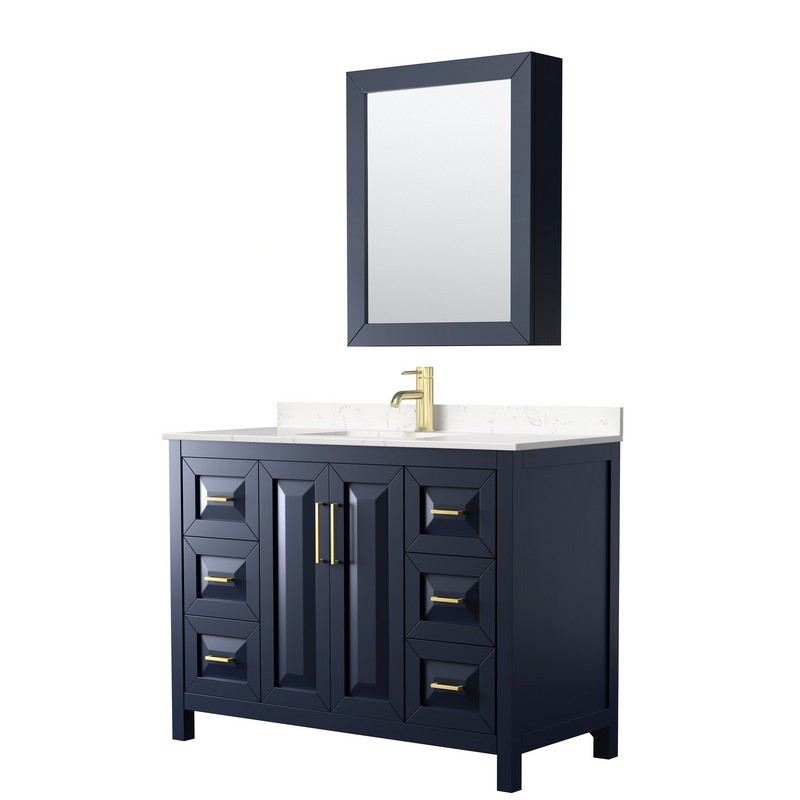 WYNDHAM COLLECTION WCV252548SBLC2UNSMED DARIA 48 INCH SINGLE BATHROOM VANITY IN DARK BLUE WITH LIGHT-VEIN CARRARA CULTURED MARBLE COUNTERTOP, UNDERMOUNT SQUARE SINK AND MEDICINE CABINET